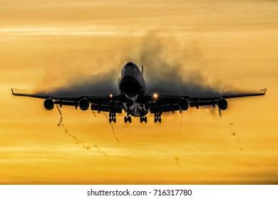 LONDON, UNITED KINGDOM - August 2017: British Airways Boeing 747-400 Early Morning Arrival Heathrow Airport  England,UK