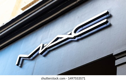 LONDON, UNITED KINGDOM - AUGUST 2019: MAC Cosmetics Shop in Queensbay Mall. MAC Cosmetics was founded in Toronto, Ontario, Canada.