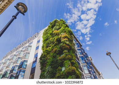 LONDON, UNITED KINGDOM - August, 21th, 2015: growing plant installation along the exterior of The Athenaeum Hotel in London city centre