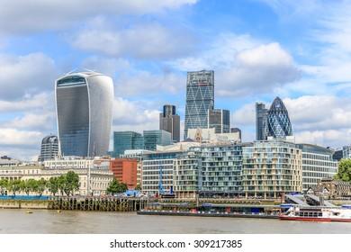 London, United Kingdom - August 22, 2015: City of London skyline and skyscrapers 122 Leadenhall Street (Cheesegrater), Tower 42, 30 St Mary Axe (Gherkin) and 20 Fenchurch Street (Walkie Talkie)