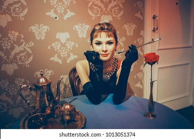 London, United Kingdom - August 24, 2017: Madame Tussauds wax museum in London. Wax figure Audrey Hepburn