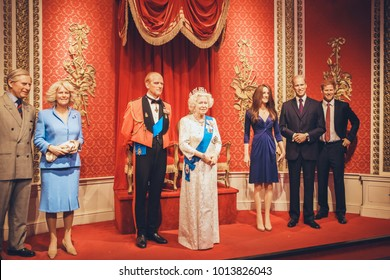 London, United Kingdom - August 24, 2017: British royal family in Madame Tussauds wax museum in London