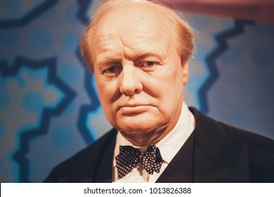 London, United Kingdom - August 24, 2017: Sir Winston Leonard Spencer-Churchill ( Winston Churchill ) in Madame Tussauds wax museum in London