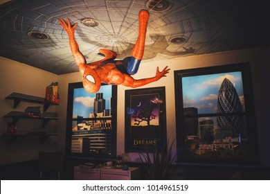 London, United Kingdom - August 24, 2017: spiderman in Madame Tussauds wax museum in London