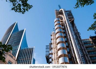 London, United Kingdom - August 24, 2010: the Lloyd's Building and other office buildings in the City of London.