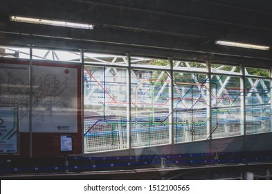 London, United Kingdom. August 25 2019. Map of the London Underground (tube map) drawn on a glass along the banks of the river Thames near London Bridge station.