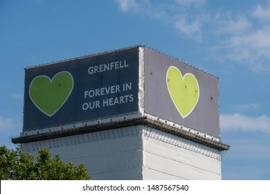 London / United Kingdom - August 25th 2019: Forever in our hearts support banner on the Grenfell tower