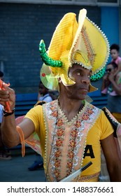London, United Kingdom, August 25th 2019:-A performer at the Notting Hill Carnival in West London, the Notting Hill Carnival is Europe's largest street party.
