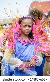 London, United Kingdom, August 25th 2019:-A young performer at the Notting Hill Carnival in West London, the Notting Hill Carnival is Europe's largest street party.