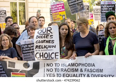 London, United Kingdom - August 26, 2016: Anti Burkini  Ban Rally. A rally was held outside the French Embassy today to protest the attitude of the French against the Islamic garment, the Burkini.