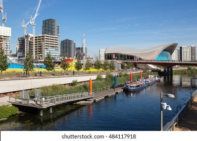 LONDON, UNITED KINGDOM - AUGUST 26, 2016: Building of the new International Quarter can be seen next to the London Aquatics Centre in East London.