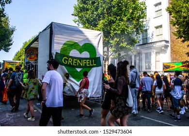 London / United Kingdom - August 26th 2019: Sign remembering the Grenfell Tower tragedy at the 53rd edition of Notting Hill Carnival (2019)