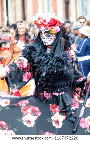 London, United Kingdom, August 27th 2018:- Participants take part in the Nottinghill Carival in west London, Europe's largest street party.