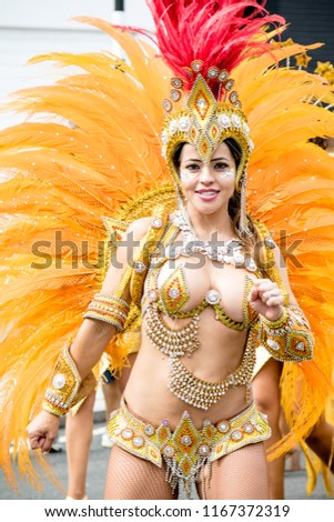London, United Kingdom, August 27th 2018:- Participants take part in the Notting Hill Carival in west London, Europe's largest street party.