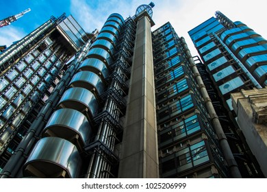 London, United Kingdom - August 28, 2017: View looking upwards at the Lloyd's Building in London's Financial District, London, England, UK