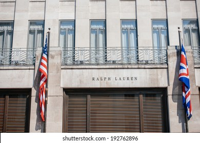 LONDON, UNITED KINGDOM - August 28, 2013: Ralph Lauren flagship store facade on New Bond Street in London on August 28. Ralph Lauren became the first US designer with a European boutique 1981 In UK