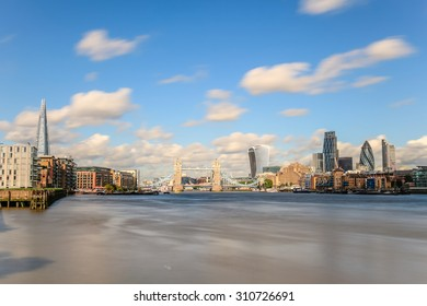 London, United Kingdom - August 28, 2015: City of London and the Thames. Shows the Shard, 122 Leadenhall Street (Cheesegrater), 20 Fenchurch Street (Walkie talkie) and 30 St Mary Axe (Gherkin).
