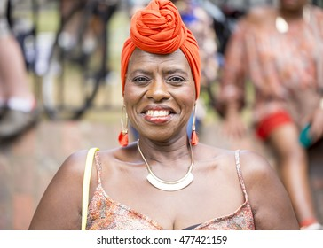 London, United Kingdom - August 29, 2016:  Notting Hill Carnival. A dutch tourist attends the Notting Hill Carnival to join in the fun of the parade.