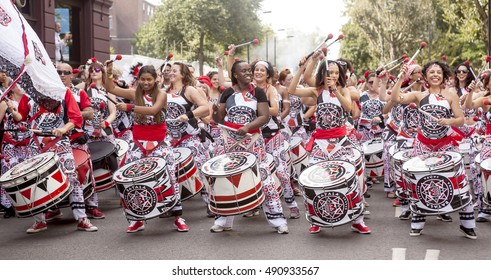 London, United KIngdom - August 29, 2016: Notting Hill Carnival. A spectacular performance from a drumming group called Batala Samba at the carnival.