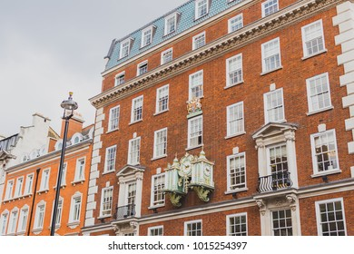 LONDON, UNITED KINGDOM - August 2nd, 2014: exterior of the Fortnum and Mason building in London city centre