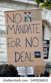 London, United Kingdom, August 31st 2019:- Protesters in Whitehall, London protesting Prime Minister Boris Johnson's plan to suspend Parliament for five weeks. A no deal brexit is now more likely