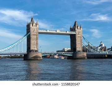 LONDON, UNITED KINGDOM - AUGUST 3RD 2018: a view on The Tower bridge during a good sunny day with a little bit of clouds around