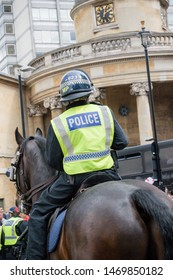 London, United Kingdom, August 3rd 2019:- Police on horseback during an anti fascist demonstration in opposition to a rally by supporters of the former EDL leader Tommy Robinson