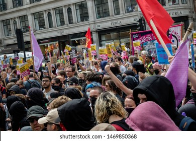 London, United Kingdom, August 3rd 2019:- Anti fascist demonstrators march in opposition to a rally by supporters of the former EDL leader Tommy Robinson