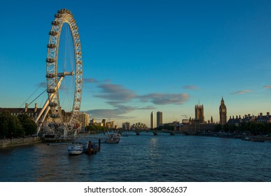 LONDON, UNITED KINGDOM - AUGUST 9 2015: The London Eye is one of London's icons and is a popular tourist attraction. It overlooks Big Ben and the rest of central London.
