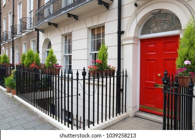 London, United Kingdom - beautiful Georgian front door.