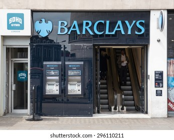 LONDON, UNITED KINGDOM - CIRCA JUNE 2015: Barclays bank in Camden Town. Barclays was founded in 1690.