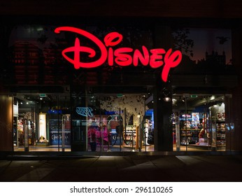 LONDON, UNITED KINGDOM - CIRCA JUNE 2015: Disney Store exterior night view in Oxford Street. Disney Store chain was founded in 1987 and has 479 locations.