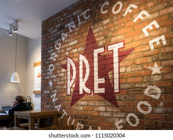 LONDON, UNITED KINGDOM - CIRCA MAY, 2018: Pret A Manger restaurant. Pret A Manger is a British sandwich retail chain, the first shop was opened in London in 1984 by Jeffrey Hyman.