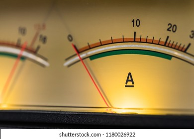 London, United Kingdom - Circa September 2018: Close-up, shallow focus of analog power supply used for broadcasting radio equipment. The metres are backlit and register the power feed to radio gear.