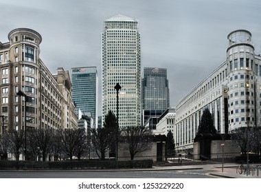 London, United Kingdom - Dec 02, 2018 : Canary Wharf is one of the two major business districts in London, long exposure photography