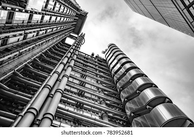 London, United Kingdom - Dec 30th 2017: View looking upwards at the Lloyd's Building in London's Financial District, London, England, UK