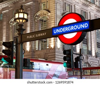 London United Kingdom December 01 2018 The Roundel logo is the symbol of the London Underground from over 110 years.