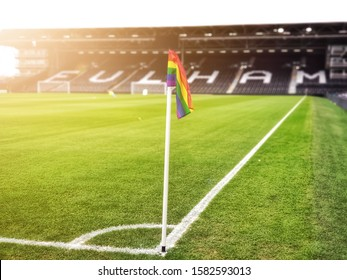 LONDON, UNITED KINGDOM - DECEMBER 07, 2019:Fulham Football Club supporting Rainbow Laces for the Bristol City game at The Craven Cottage.