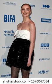 London, United Kingdom- December 1 2019:  Phoebe Dynevor at the 22nd British Independent Film Awards in London.