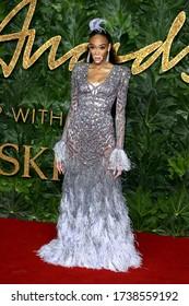 London, United Kingdom - December 10, 2018: Winnie Harlow attends The Fashion Awards at Royal Albert Hall in London, UK.