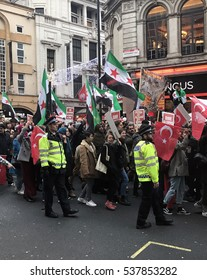 London, United Kingdom - December 17, 2016: Syrian Protest March/Demonstration in London