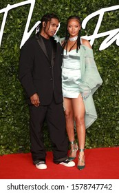 London, United Kingdom- December 2 2109: Rihanna and ASAP Rocky attend the Fashion Awards at the Royal Albert Hall in London.