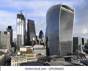 London, United Kingdom - December 20, 2018: Skyline of The City from The Monument in London, United Kingdom.