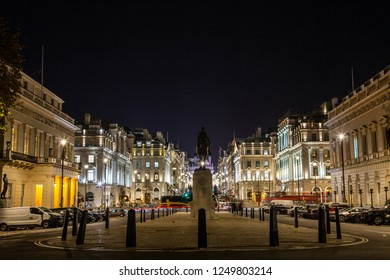 London, United Kingdom - December 2018 - Night view brightly illuminated buildings  at St James area of central London
