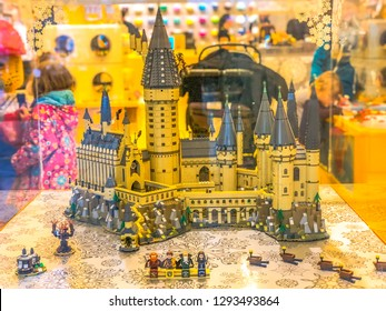 LONDON, UNITED KINGDOM - DECEMBER 2018: A highly detailed LEGO Harry Potter Hogwarts Castle comprised of over 6,000 pieces on display at the LEGO Store.