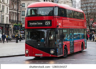 London, United Kingdom - December 23, 2019: Wrightbus New Routemaster travelling around Trafalgar Square heading towards Streatham Station on route 159, London, United Kingdom.
