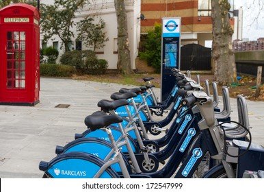 LONDON, UNITED KINGDOM - DECEMBER 28, 2011: Detail of London's bicycle rent docking station. The scheme is sponsored by Barclays bank, which is contributing £25 million.
