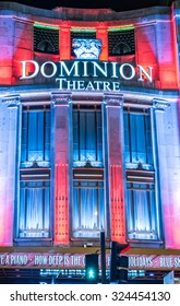 London, United Kingdom - December 30, 2014: London Christmas lights decoration  at Dominion theatre as seen on 30th of December, 2014.