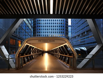 London, United Kingdom - Decl 02, 2018 : Pedestrian passage in Canary Wharf one of the two major business districts in London