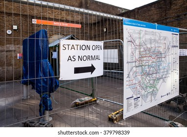London, United Kingdom - Feb 03, 2016: Entrance to Bethnal Green railway station, whith is on redevelopment, announcement on entrance says that the station is working as normally.